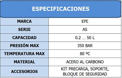 Tabla de Especificaciones